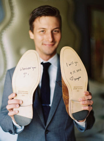 message on wedding shoes