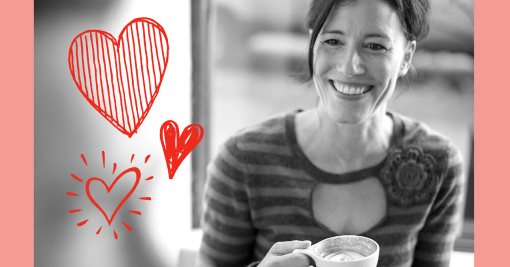 smiling woman with hearts
