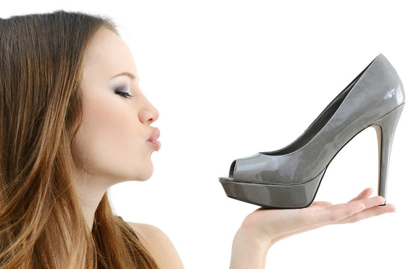Woman obsessed with shoes