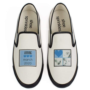 Baby announcement shoes from ShoeSprinkles, White canvas slip-ons personalized with your due date.