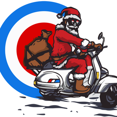 Mod Santa Giving Presents