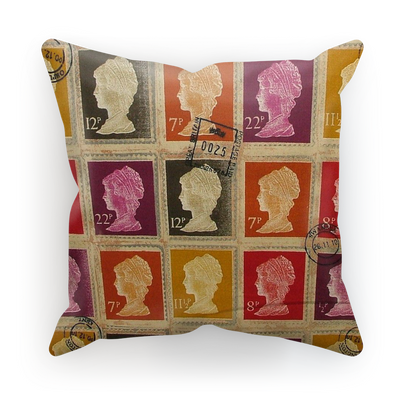 Designer vintage mulberry red purple mustard gold british stamp cushion cover.