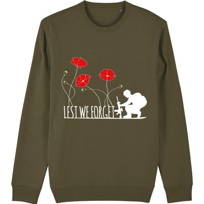 Lest we forget Poppy Dark Organic Sweatshirt