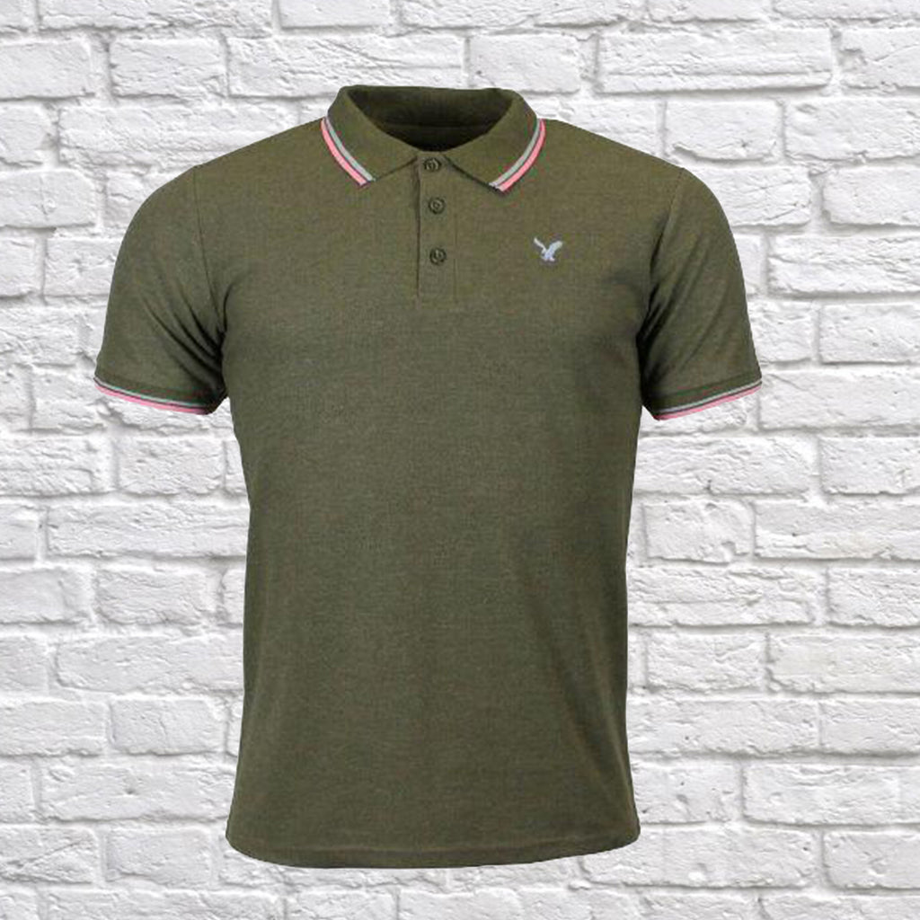 Mens American Eagle Tipped Polo Shirt