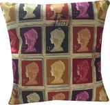 Cushion - Designer Vintage Mulberry Red Purple Mustard Gold British Stamp Cushion Cover.