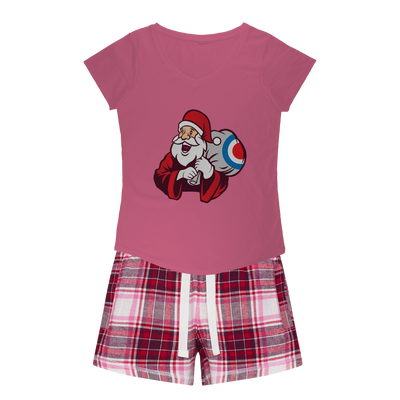 Mod Santa Womens Sleepy Tee and Flannel Short