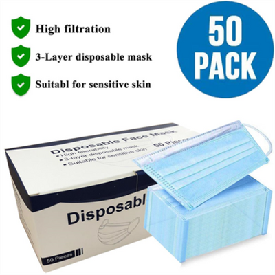 3 Layer Medical Disposable Face Mask Blue (50 pcs)