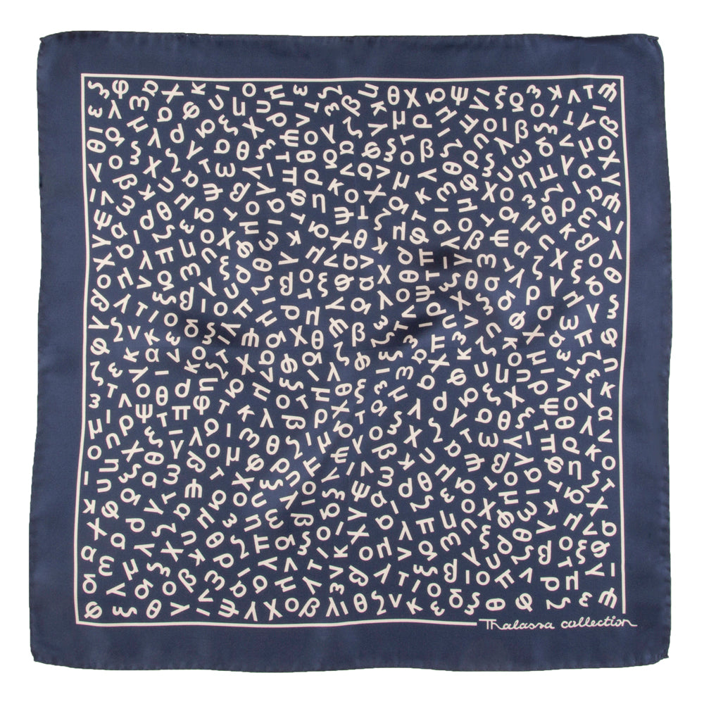 GREEK ALPHABET  BANDANA/POCKET SQUARE (LOWER CASE LETTERS) - Thalassa Collection