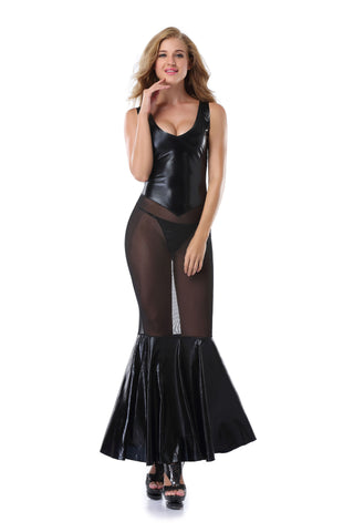 Pianola Lingerie Wet Look & Mesh Dress