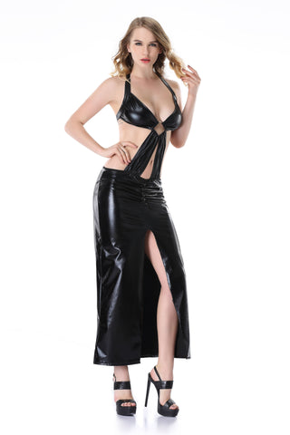 Pianola Lingerie Black Wet Look Halter Dress