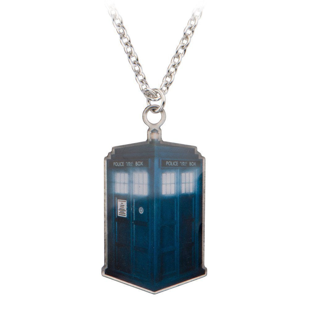 Doctor Who Photo Printed Stamp Cut Tardis Necklace