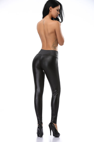 Pianola Lingerie Black Wet Look Leggings