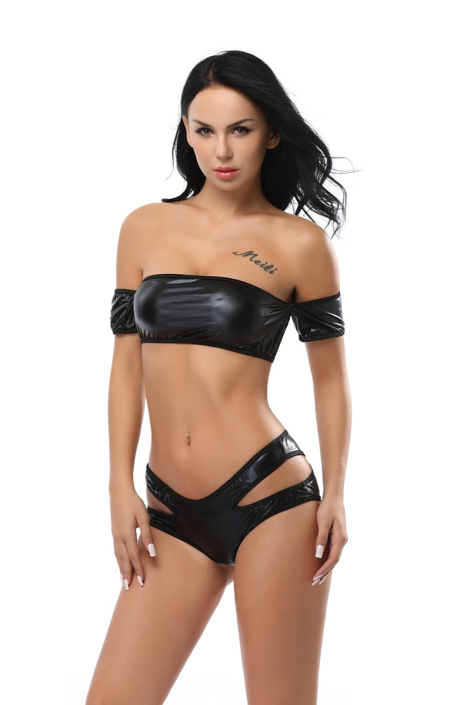 Pianola Lingerie Black Wet Look Top and Shorts