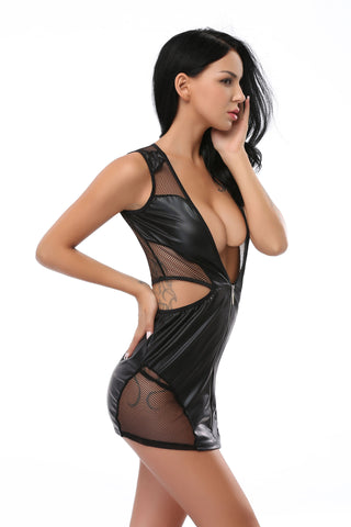 Pianola Lingerie Black Wet Look and Fishnet Mini Dress