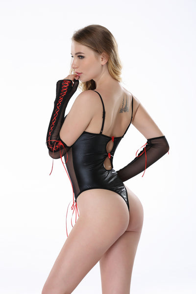 Pianola Lingerie Black Mesh and Wet Look Teddy with Red Lace