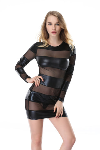 Pianola Lingerie Black Wet Look and Mesh Striped Dress