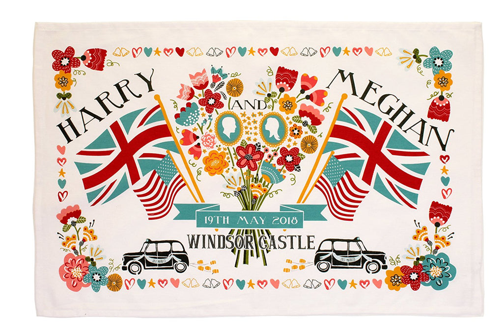 Royal Wedding of Prince Harry and Meghan Markle Tea Towel (Flags Design)