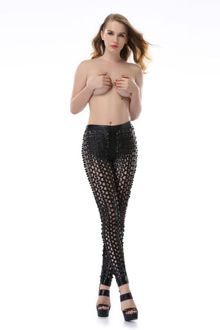 Pianola Lingerie Black Open Fishscale Leggings