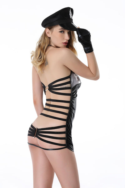 Pianola Lingerie Black Wet Look Police Costume