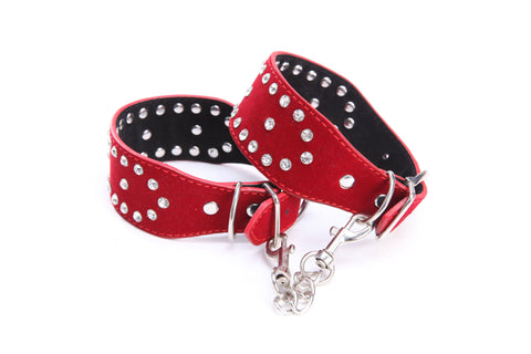 Pianola Lingerie Red Faux Leather Wrist Cuffs with Rhinestones