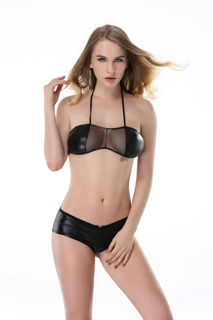 Pianola Lingerie Black Wet Look and Mesh Set