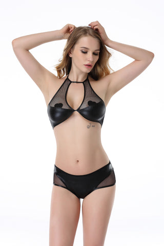 Pianola Lingerie Black Wet Look and Mesh Lingerie Set