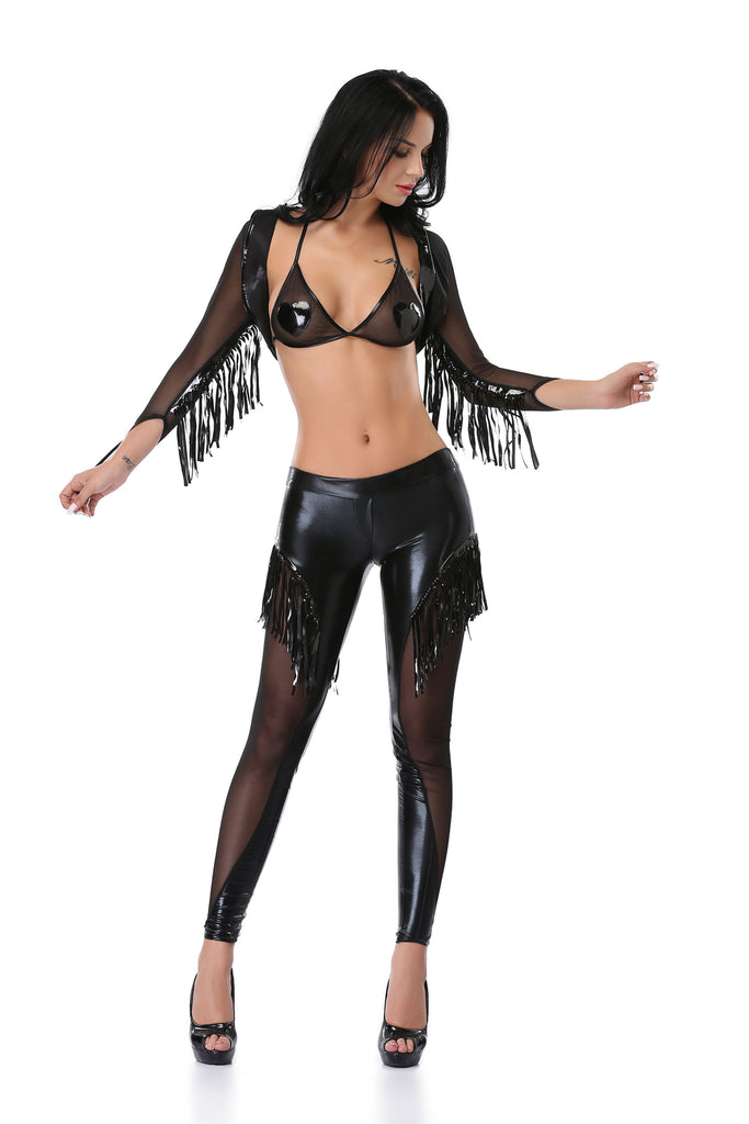 Pianola Lingerie Black Wet Look Fringed Top & Shorts
