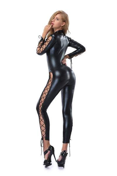 Pianola Lingerie Black Wet Look Side Lace Body Suit