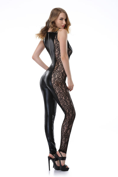 Pianola Lingerie Black Lace and Wet Look Bodysuit