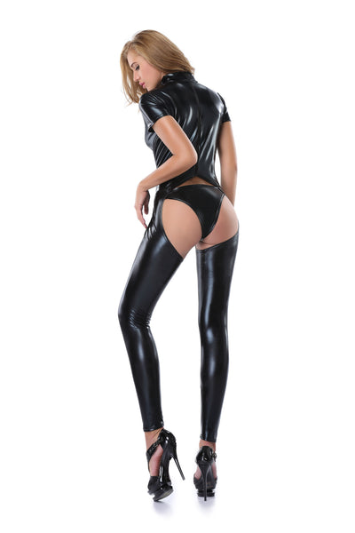 Pianola Lingerie Black Wet Look Body Suit
