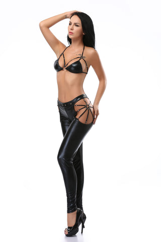 Pianola Lingerie Black Caged Wet Look Set