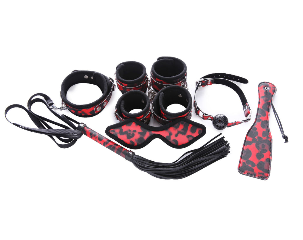 Pianola Lingerie Black & Red Cheetah Print Restraint Kit
