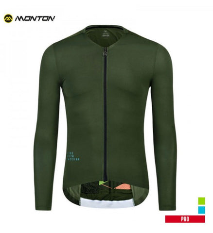 MONTONSPORTS MENS LONG SLEEVE BIKE JERSEY PRO TRAVELER III OLIVE GREEN