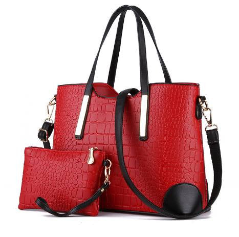 Crocodile Pattern Tote with Pouch