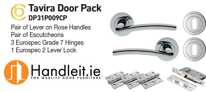 Tavira Handle,Lock And Hinges Door Pack Polished Chrome