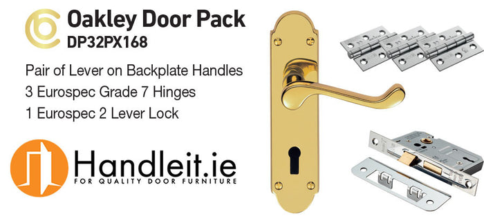 Ultimate Door Pack Oakley Handle,Lock And Hinges Polished Brass