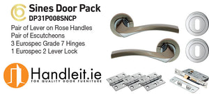 Sines Handle,Lock And Hinges Door Pack Dual Satin Nickel/Chrome Finish