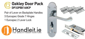 Oakley Handle,Lock And Hinges Door Pack Polished Chrome