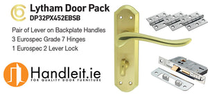 Lytham Handle,Lock And Hinges Door Pack Polished/Satin Brass