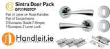 Sintra Handle,Lock And Hinges Door Pack Polished Chrome Finish
