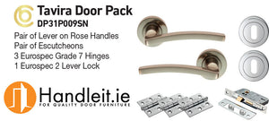 Tavira Handle,Lock And Hinges Door Pack Satin Nickel Finish
