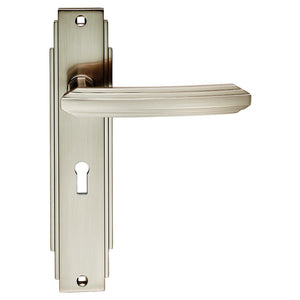 Carlisle Art Deco ADR011 Lever Handle On Lock Plate Satin Nickel