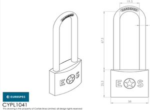 Eurospec Brass Padlock Long Shackle