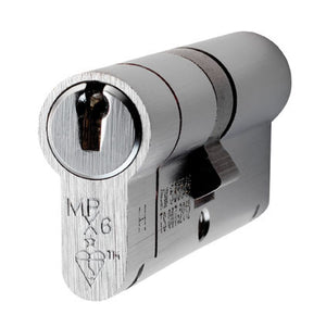 Eurospec MPX6 6 Pin Anti Snap Security Cylinder Satin Chrome Key & Key Cylinder