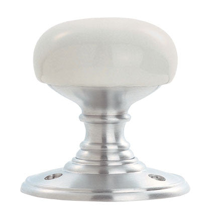 Carlisle Brass Delamain DK34PWSC Unsprung White Porcelain Mortice Knobset On Satin Chrome Rose
