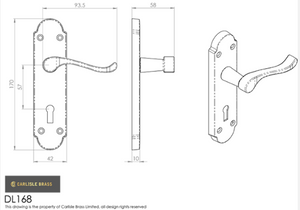 Carlisle Brass Oakley Door Handle On Backplate 170x42mm