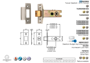 Eurospec Tubular Deadbolt CE Certified