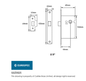 Eurospec Easi T Radius Upright Latch 64mm CE Certified
