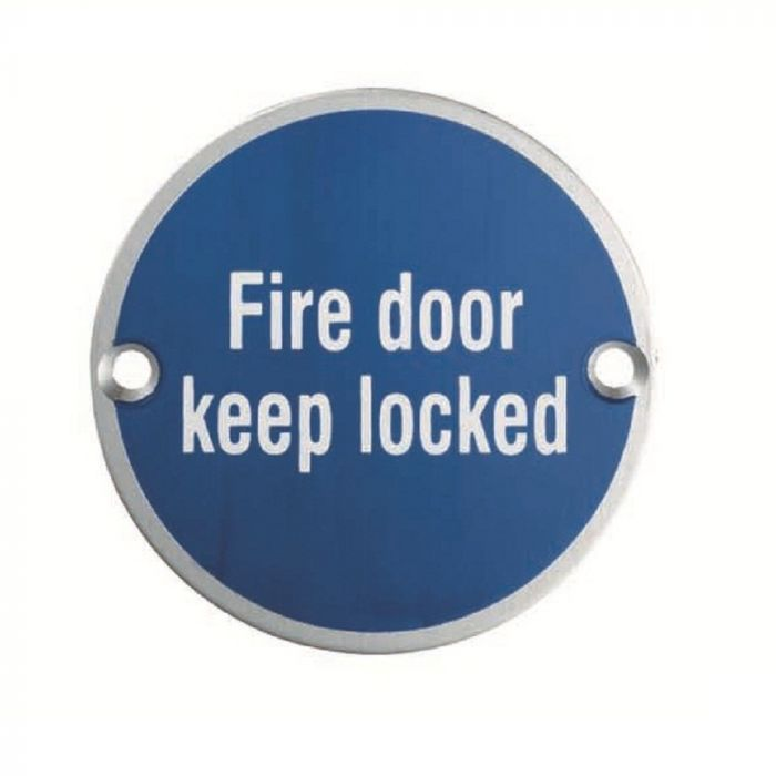 "Eurospec SEX1015 ""Fire Door Keep Locked"" Symbol 76mm Disc  Stainless Steel"