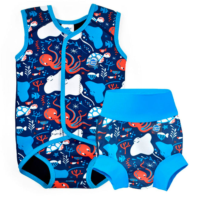 f99eb2644ca Bañador pañal antifugas y traje de neopreno para bebé Under the Sea
